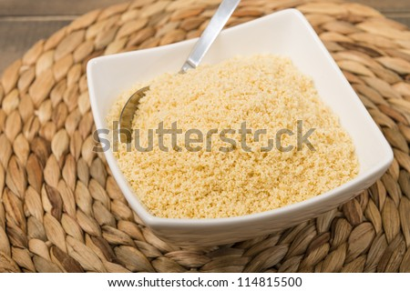 Farofa - Bowl of manioc flour cooked with butter. Traditional Brazilian side dish.