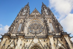 Fasad of the St. Vitus cathedral in Prague Castle in Prague, Czech Republic