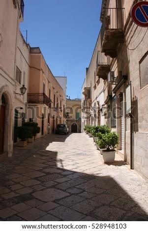 Fasano, Puglia, Italy, a noarrow lane in the ancient centre