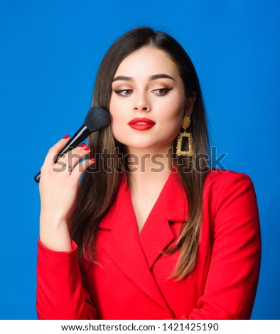 fashion and beauty. Fashion portrait of woman. beauty and fashion. hair beauty and hairdresser salon. jewelry earrings. Girl in red jacket. Sexy woman with professional makeup brush tool. #1421425190