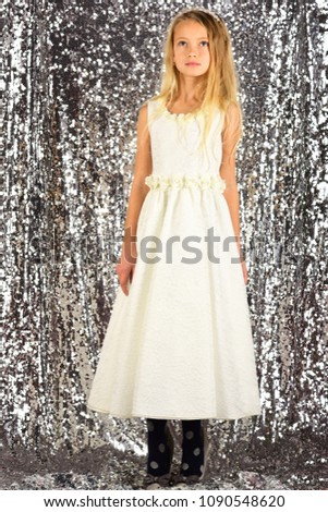Fashion and beauty, little princess. Look, hairdresser, makeup. Fashion model on silver background, beauty. Little girl in fashionable dress, prom. Child girl in stylish glamour dress, elegance. #1090548620