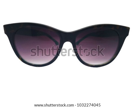 Fashion and healthcare concept. Purple sunglasses with a frame of black-brown pattern. Isolated on white background, copy space and clipping path.