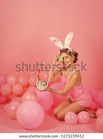 fashion and kid beauty. fashion and beauty of little easter girl #1273239412
