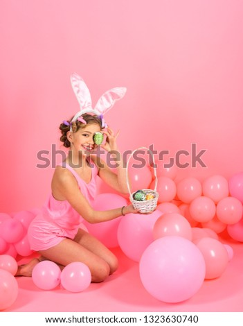 fashion and kid beauty. fashion and beauty of little easter girl #1323630740