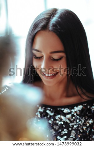 Fashion and vogue. Beautiful girl in sequin dress