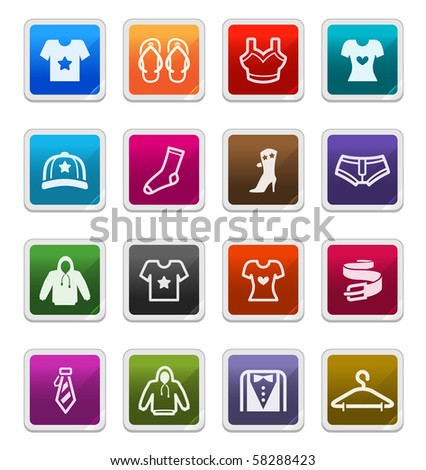 Fashion & Apparels Sticker Icons isolated over white background - sticker series