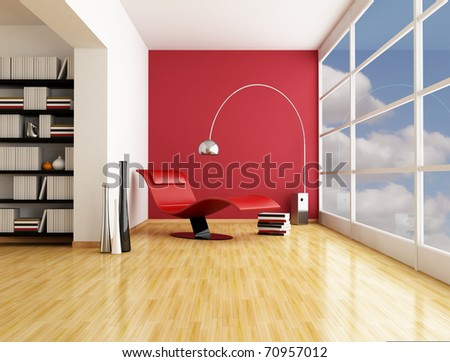 fashion armchair near a big window in a minimalist living room - rendering
