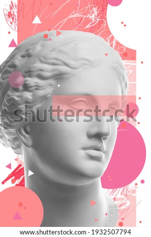Fashion art collage with plaster antique sculpture of Venus face in a pop art style. Creative vogue concept image in contemporary surrealism style. Beauty, fashion and health theme. Zine culture. Foto stock ©