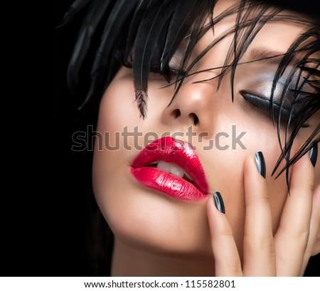 Fashion Art Girl Portrait.Vivid Makeup.Make-up