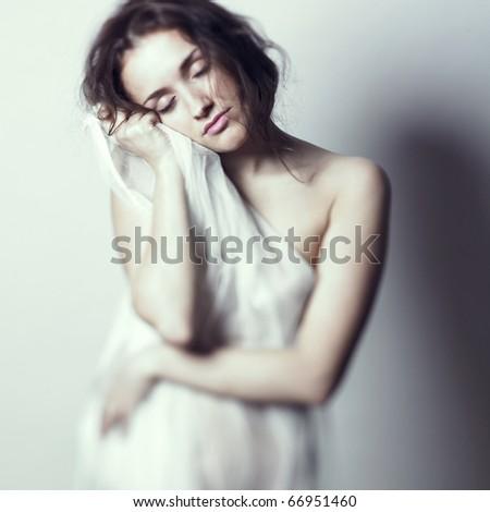 Fashion-art photo of young beautiful gentle lady