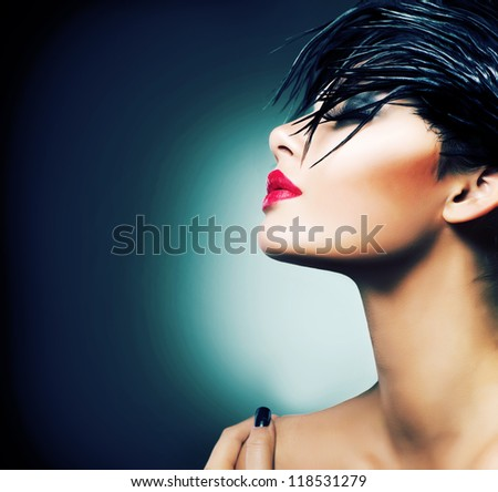 Fashion Art Portrait Of Beautiful Girl. Vogue Style Woman. Hairstyle