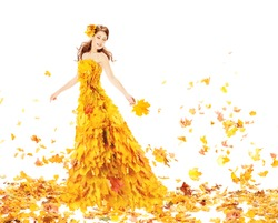 Fashion Autumn Woman, Fall Leaves Dress, Beauty Girl Model in Blowing Gown