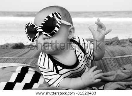 fashion baby on seaside