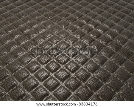 Fashion background: Alligator stitched black skin with square shapes
