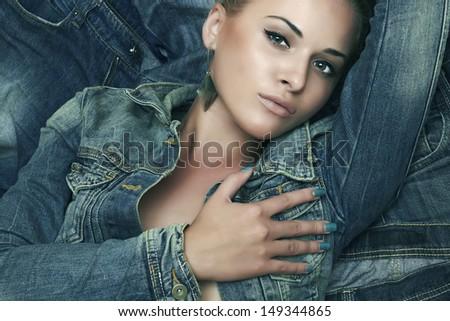 fashion beautiful girl. denim blue jeans wear. beauty woman