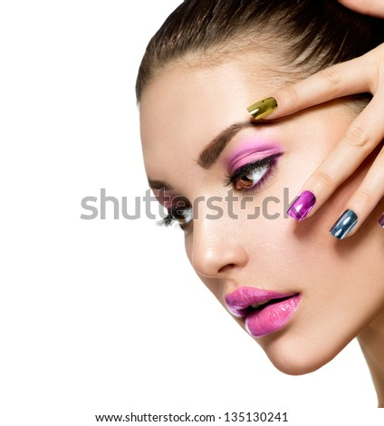 Fashion beauty manicure and make up nail art beautiful woman with