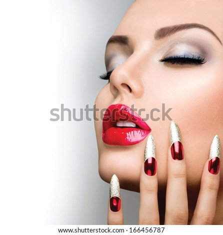 Fashion Beauty Model Girl Manicure And Make Up Nail Art Beautiful Woman With Red And Golden