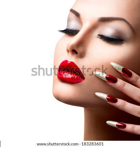 fashion beauty model girl manicure and make up nail art beautiful woman with red and golden. Black Bedroom Furniture Sets. Home Design Ideas
