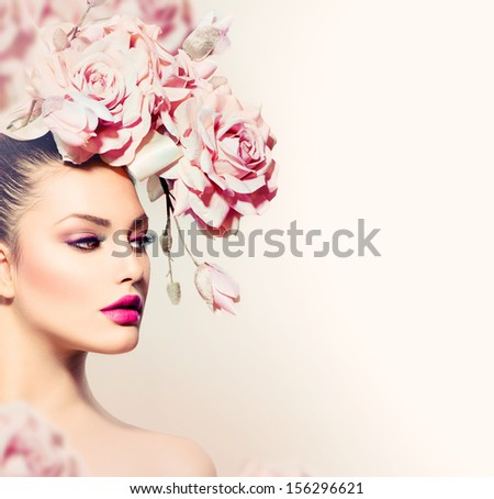 Fashion Beauty Model Girl with Flowers Hair. Bride. Perfect Creative Make up and Hair Style. Hairstyle. Bouquet of Beautiful Flowers - stock photo