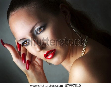 stock photo fashion beauty portrait of young glamour model woman with long red nails add sexy lips with lip 87997510 black velvet gloves with faux bracelet and ring attached to one glove. Adult ...
