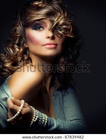 Fashion Beauty Portrait. Sexy Girl. Holiday Makeup - stock photo