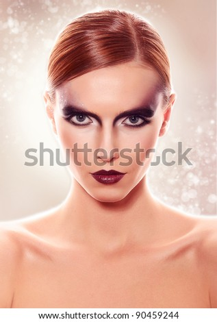 Fashion Beauty Portrait. Sexy Girl. Holiday Makeup .