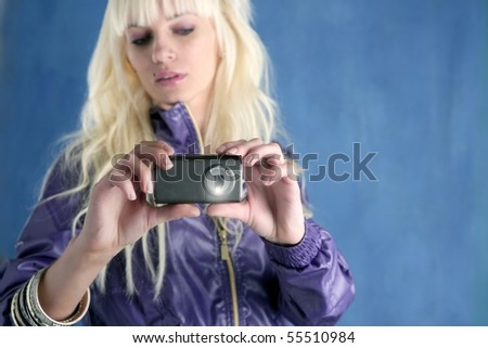 Fashion Blonde Girl Camera Mobile Phone Blue Stock