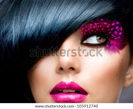 Stock Photo Fashion Brunette Model Portrait. Hairstyle. Haircut. Professional Makeup. False Eyelashes