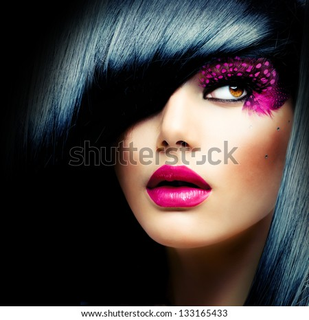 Stock Photo Fashion Brunette Model Portrait. Hairstyle. Haircut. Professional Makeup. False Eyelashes. Purple Make-up