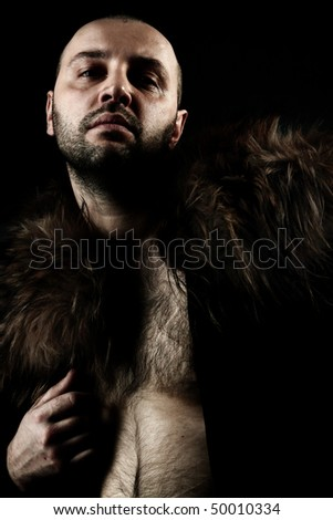 fashion brutal men in furs