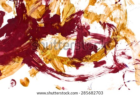 Fashion chic background. Abstract acrylic hand painted. Red and orange color. Isolated on white background.
