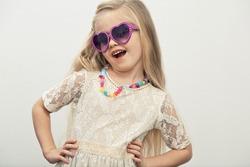Fashion child girl. Isolated portrait.