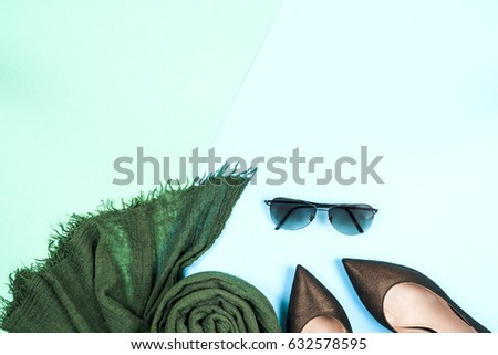 Fashion. Clothes Accessories fashion Set. Stylish Trendy gumshoes and women clothing, Summer fashion girl Outfit, accessories. Art Minimal fashion concept - Shutterstock ID 632578595