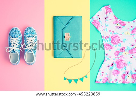 Fashion. Clothes Accessories fashion Set. Stylish woman dress and accessories, Glamor Handbag clutch, Trendy gumshoes. Summer fashion Outfit, accessories. Essentials Overhead Top.Minimal fashion style