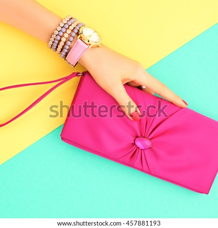 Fashion Clothes Accessories Set. Female hand Stylish Trendy Handbag clutch, Glamor Wrist Watches. Summer girl Outfit, Luxury.Hipster Essentials.Art Minimal concept