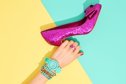 Fashion Clothes Accessories Set. Female hand Stylish Trendy heels Glamor Wrist Watches. Summer girl Outfit, Luxury Party shoes. Hipster Essentials.Minimal fashionable concept