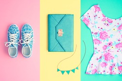 Fashion. Clothes Accessories Set. Trendy Wrist Watches, Stylish woman dress, Summer Glamor Clutch, Gumshoes. Hipster Girl Outfit. Flat lay. Minimal fashionable Pastel color