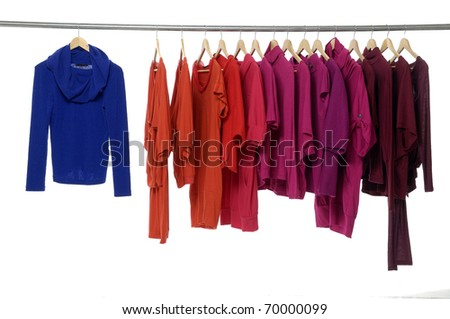 Fashion clothing hanging on hangers