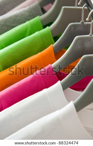 Shutterstock fashion clothing on hangers at the show