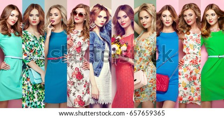 Fashion collage. Group of beautiful young women. Blonde young woman in floral spring summer dress. Girl posing. Summer floral outfit. Stylish wavy hairstyle. Fashion photo
