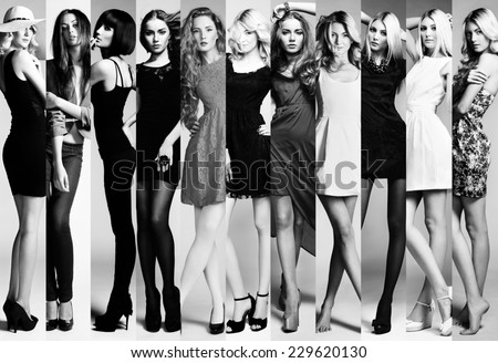 Shutterstock Fashion collage. Group of beautiful young women. Sensual girls