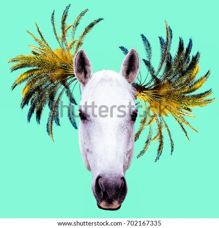 Fashion collage minimal. Photo manipulation. Horse and Palm Hipster art.
