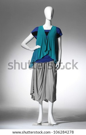 Fashion collection of dress on mannequin isolated
