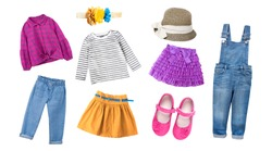 Fashion  colorful child girl's clothing,bright collection of kid's apparel,baby garment set,collage of clothes isolated on white.