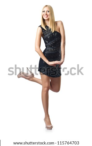 Fashion concept with attractive woman on white