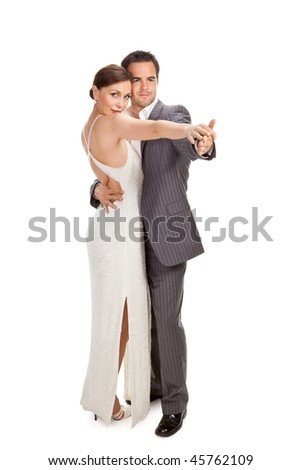fashion couple dancing, studio shot on white