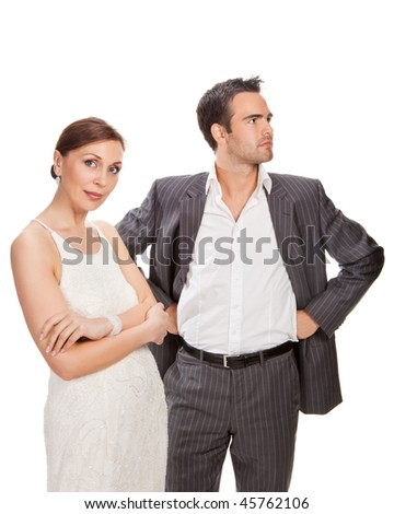 fashion couple, studio shot isolated  on white