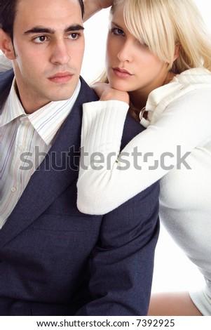 fashion couple, studio shot on white
