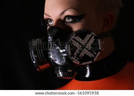 Fashion Cyber Fetish Latex Rubber Respirator Woman