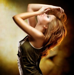 Fashion Dancing Girl. Disco Woman